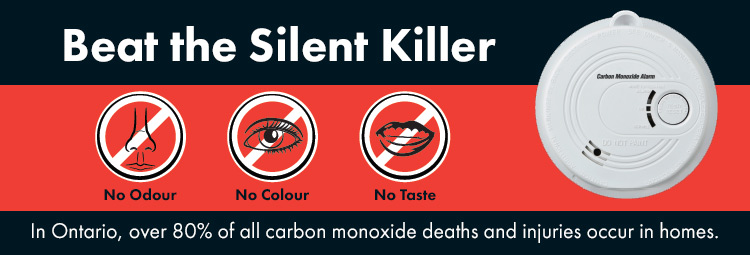 black, red and white with a white smoke alarm and the words beat the silent killer