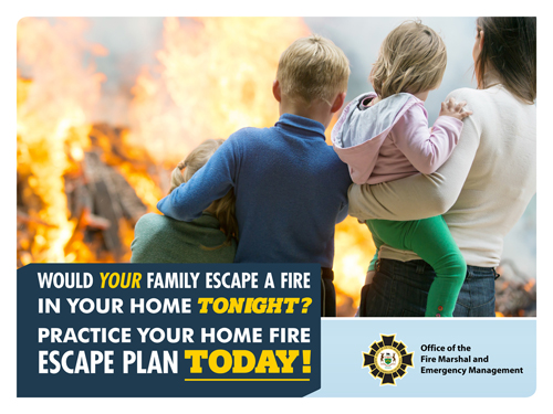 Family standing outside a burning home with the words would your family escape a fire in your home tonight? Practise your home fire escape plan today.