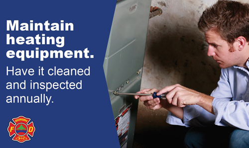 Man fixing furnace with the words maintain heating equipment. have it cleaned and inspected annually