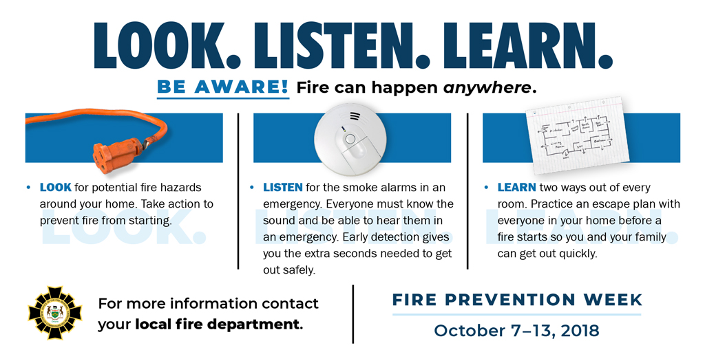 Fire Prevention Week:  October 7-18, 2018 Be Aware!  Fire can happen anywhere.