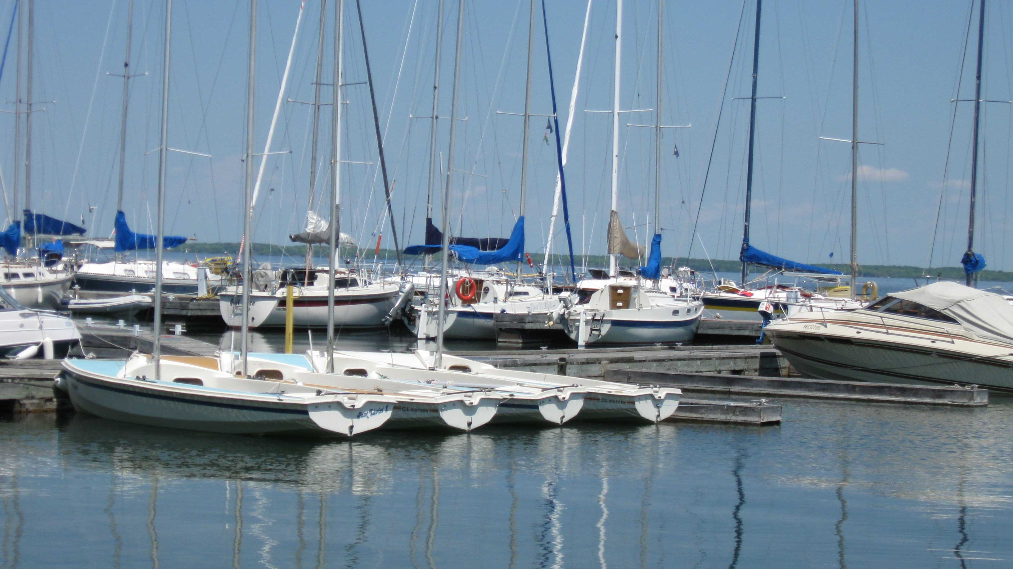 Sailboats docked at Jackson's Point Harbour
