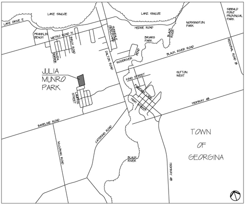 Black and white map of Julia Munro Park in Sutton