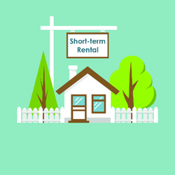 """illustration of house with """"Short-term Rental"""" sign"""