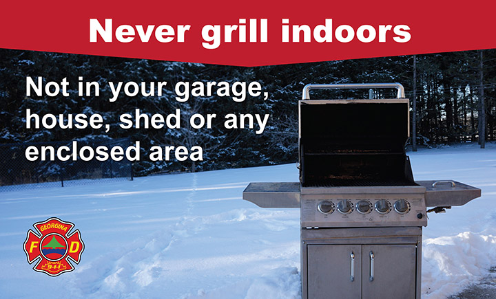 barbecue in the snow with the words grill indoors not in your garage, house, shed or any enclosed area